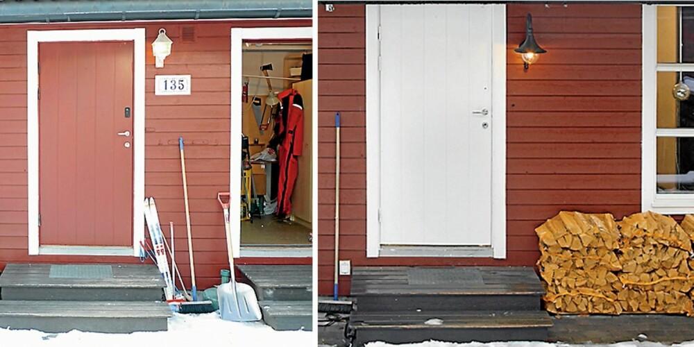 LYSNET OPP. Til høyre for inngangsdøren ser du den gamle boddøren. Etter forvandlingen (til høyre) ble døren erstattet med et vindu som gjør gangen lysere.