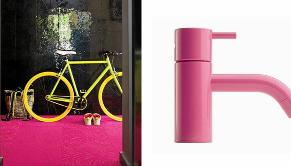 ROSA TREND: Våger du å innrede med dette rosa teppet fra flor.com - eller rosa blandebatteri fra Vola?