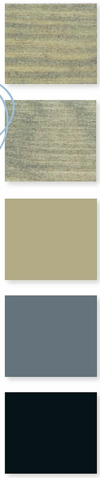 FARGEPALETT: Grove interiørbeiser kombinert med grått, blått og gråbeige gir et rustikt og harmonisk uttrykk. Fra toppen: Shabby, Patingrå og Marrakesh fra Jotun, Longyearbyen og Reykjavik fra Fargerike.