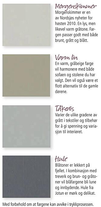 FARGEPALETT: Bland ulike gråtoner med beige og blått for et rustikt og harmonisk interiør.