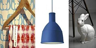 MODERNE INTEIRØR: Stoff og tapet fra Isak, Muuto lampe fra Finnishdesignshop og harepuslys fra Rockettstgeorge.co.uk.