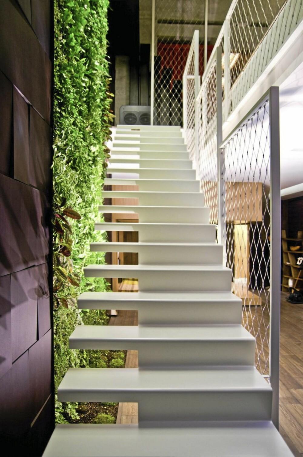 FRISK INNSLAG: På veggen langs den ene trappen vokser det en vertikal hage.