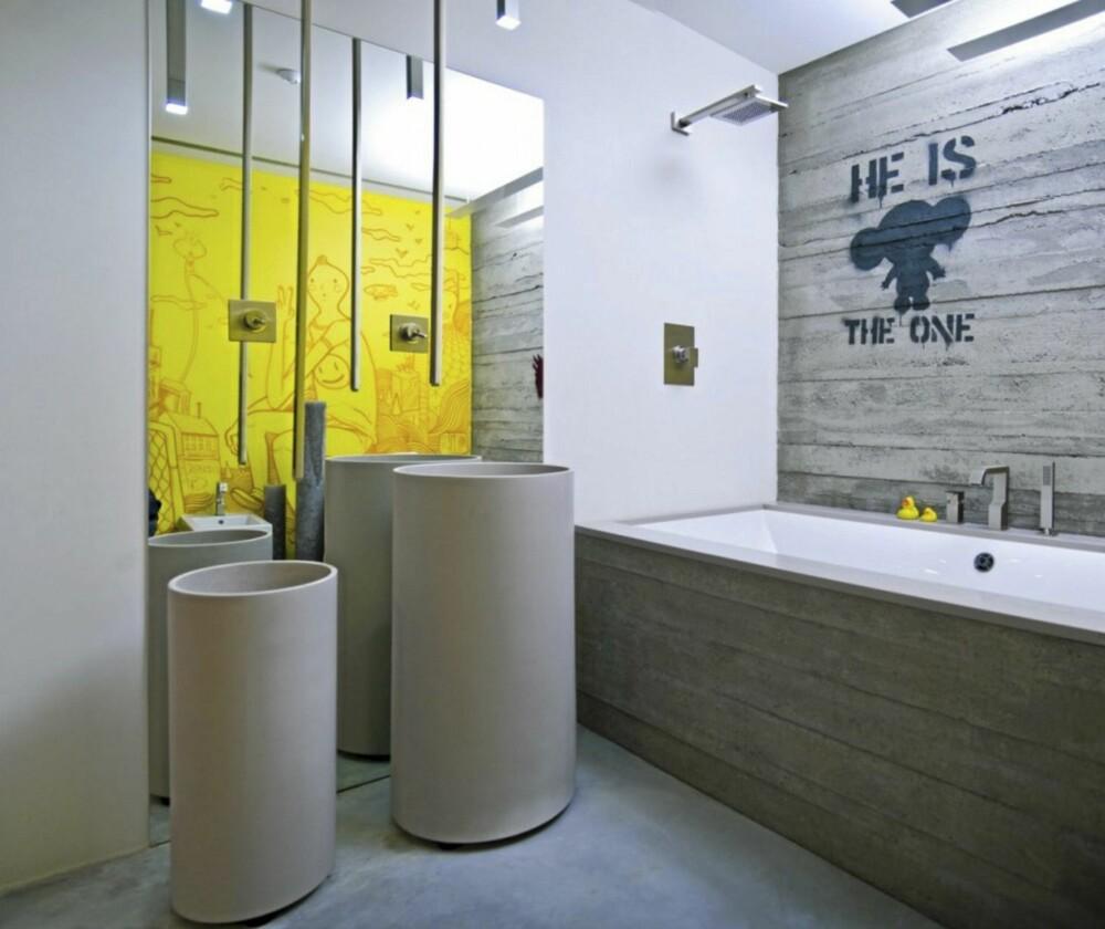 BARSKT BAD: Også på hovedbadet er det betong som gjelder.