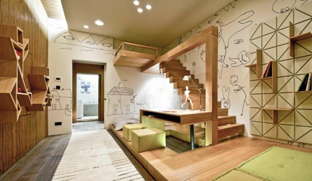 LEKEROM: Barnerommet minner mer om et lekerom enn et soverom. Her har designerne tilpasset rommet for avslapning, spill og lek.