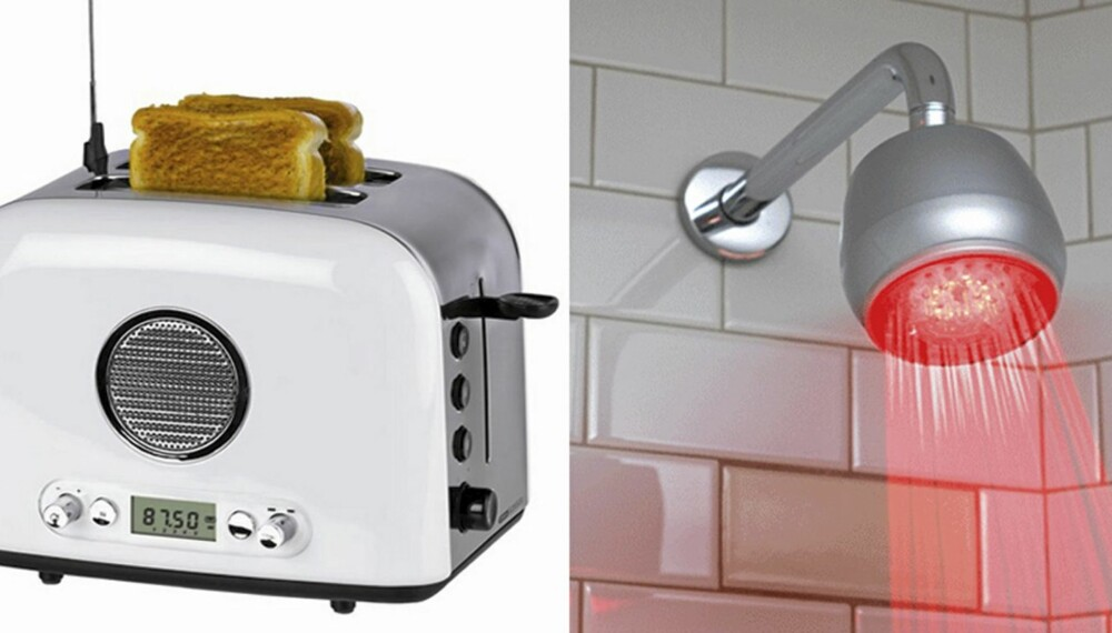 JULEGAVENE DU IKKE ØNSKER DEG: Brødrister med radio eller dusjhode som skifter farge etter varmen på vannet. Kanskje ikke det du ønsker deg mest til jul.
