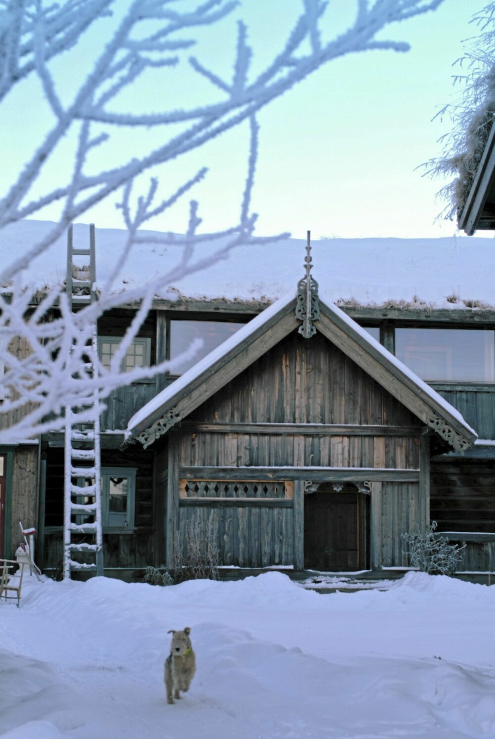 FØRSTEKLASSES DEKOR: Det antas at treskjærerenJakup Sæterdal lagde både framskapet i stuen, svalgangen, mønespiret og vindskiene på Kleppe Nordigard. Noen av dette er idag kopier av originalene.