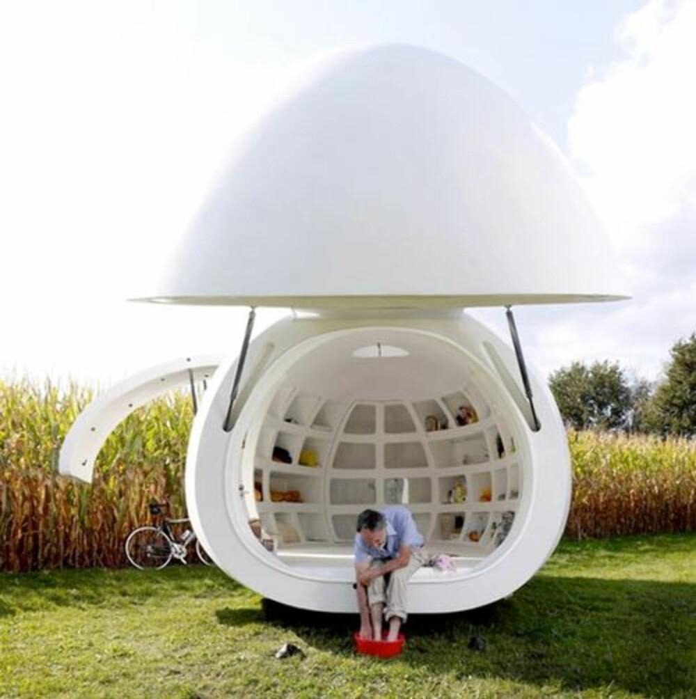 """MOBIL: """"""""Egget"""""""" kan flyttes rundt, omtrent som en litt stor campingvogn."""