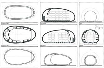 """PROSJEKT: Tegningene viser hva arkitektene tenkte dda de formga """"""""blob""""""""."""