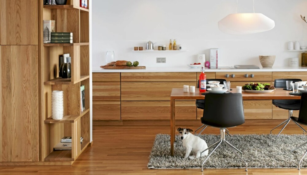ET HARMONISK VÆRELSE: Det renlinjete kjøkkenet ligger i en nyoppført teglvilla tegnet av Oker Arkitektur. Hylleveggen skjermer mot stuen.
