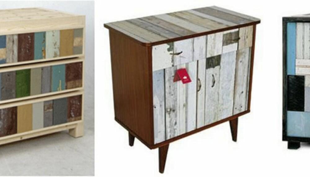 KOPIERT: Først står Piet Hein Eeks original fra 1990, dernest en redesignet versjon fra 2009. Den har Studio Ditte laget av et gammelt møbel med scrapwood-tapet på. Sist står et skap designet av Margaret Taylor (Dryads dancing), fra 2007. Foto: Produsentene