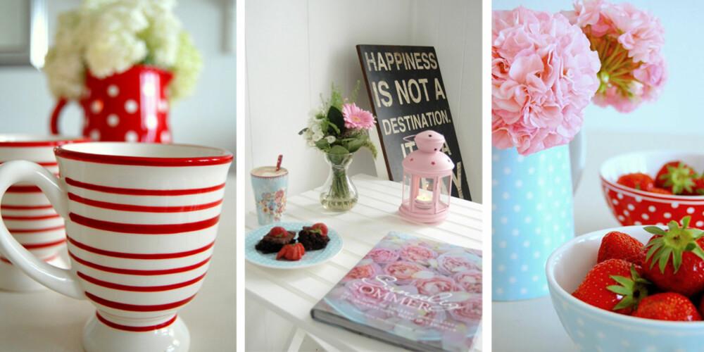 JENTEDRØM: Hjemme hos Norges beste blogger er det søte kopper og sommerens jordbær som gjelder.