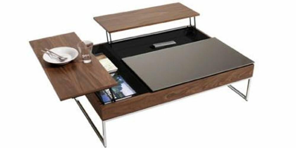 SKJULESTED: Kommer gjestene, kan du bare dytte smuler og skrot ned i det smarte skjulestedet inni bordet.