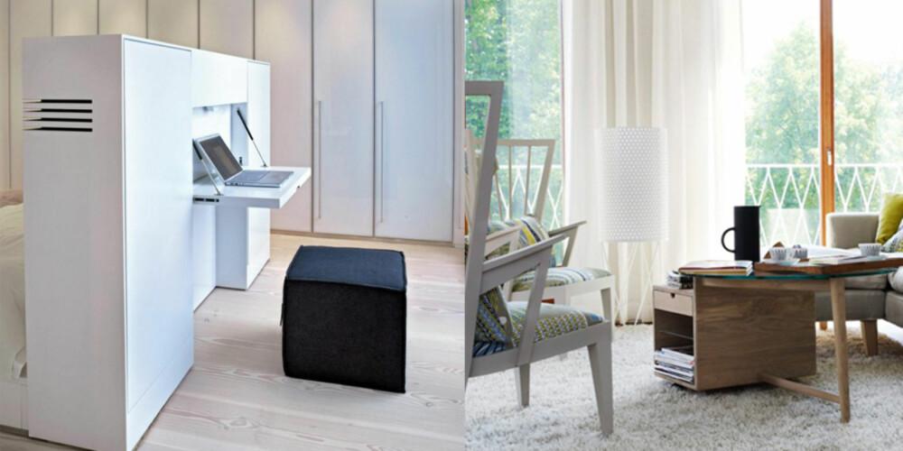 TENK OPPBEVARING: Denne smarte boksen fungerer både som hodegjerde på sengen og hjemmekontor, og skjuler både kabler og kontorrekvisita.
