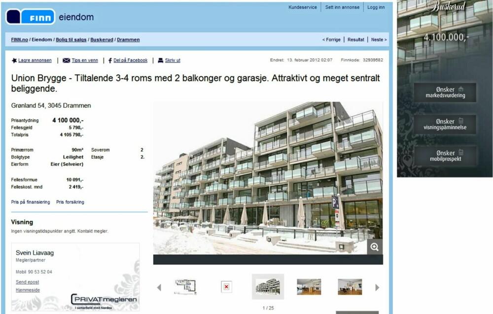 TIL SALGS: Leilighet på Union Brygge i Drammen med 2 balkonger og garasje. Primærrom 90 kvm. 2 soverom. Prisantydning 4.100.000 kroner.