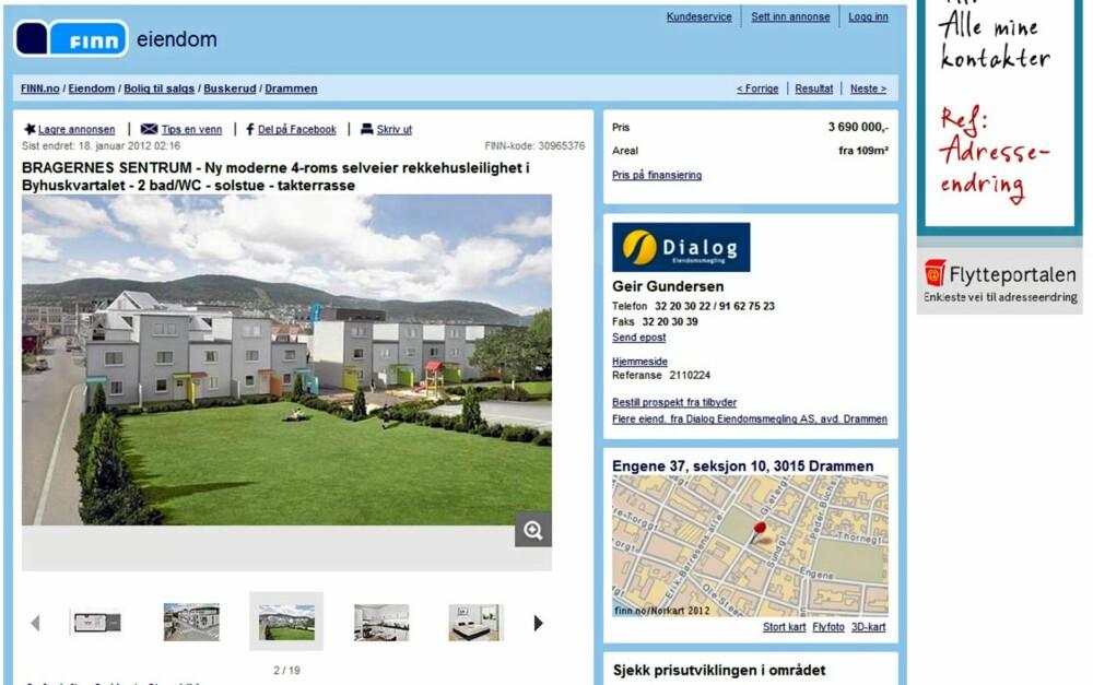 TIL SALGS: Rekkehusleilighet i Byhuskvartalet med takterrasse i Drammen. Primærrom 109 kvm. Prisantydning 3.690.000 kroner.