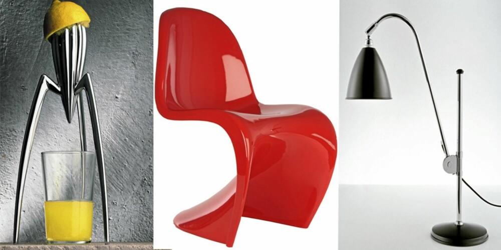 HIPP HURRA: Alle disse godbitene feirer runde fødselsdager. Philip Stacks juicepresse for Alessi er en lekkerbisken for kjøkkenbenken. Verner Pantons Panton Chair i rødt er en fargeklatt for den designbevisste og Bestlites klassiske arbeidslampe er belysning med stil.