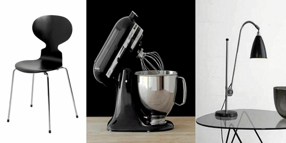 BLACK BEAUTY: Stolen Mauren, designet av den danske arkitekten Arne Jacobsen, holder stand som møbelikon den dag i dag. Kjøkkenmaskinen fra amerikanske Kitchen Aid feirer hele 90 år og arbeidslampen fra Bestlite lyser opp i mangt et hjem verden over.