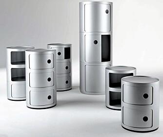 RIUNDE FORMER: Oppbevaringssystemet Componibili fra Kartell er lekent, gjenkjennelig og praktisk. Italiensk design på sitt beste.