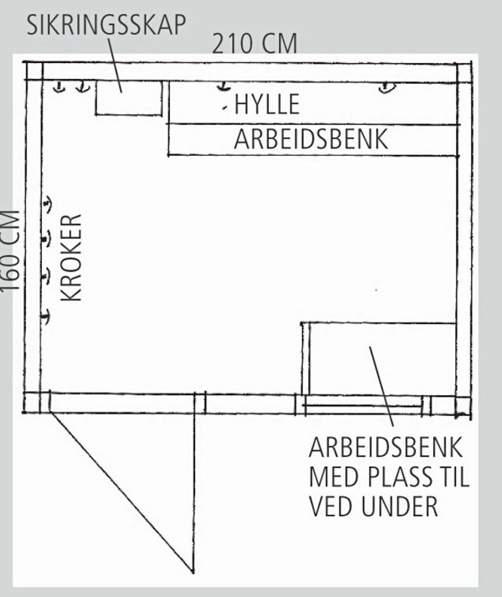SKISSE AV BOD: Interiørarkitekten tegnet nye løsninger til boden.