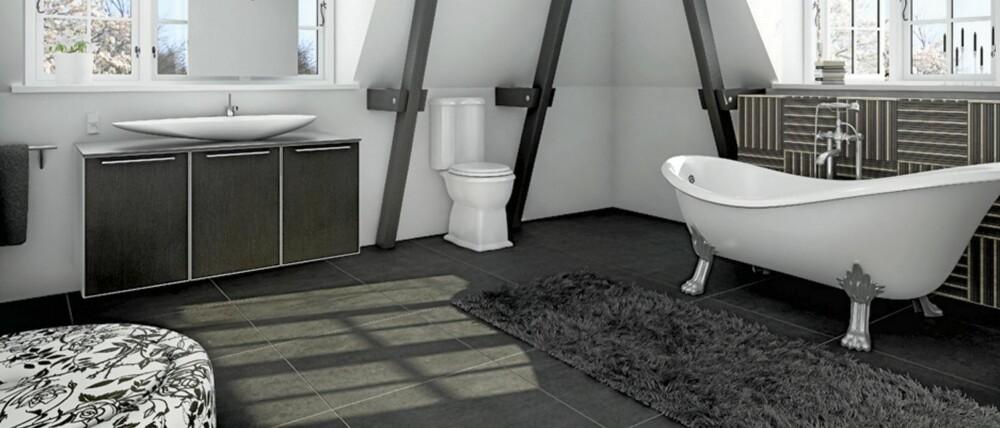 STØRRE FLISER: Mosaikkflisene har lenge dominert på badet, men nå blir flisene stadig større.  Det blir dessuten mer av toaletter som går ned til gulvet.
