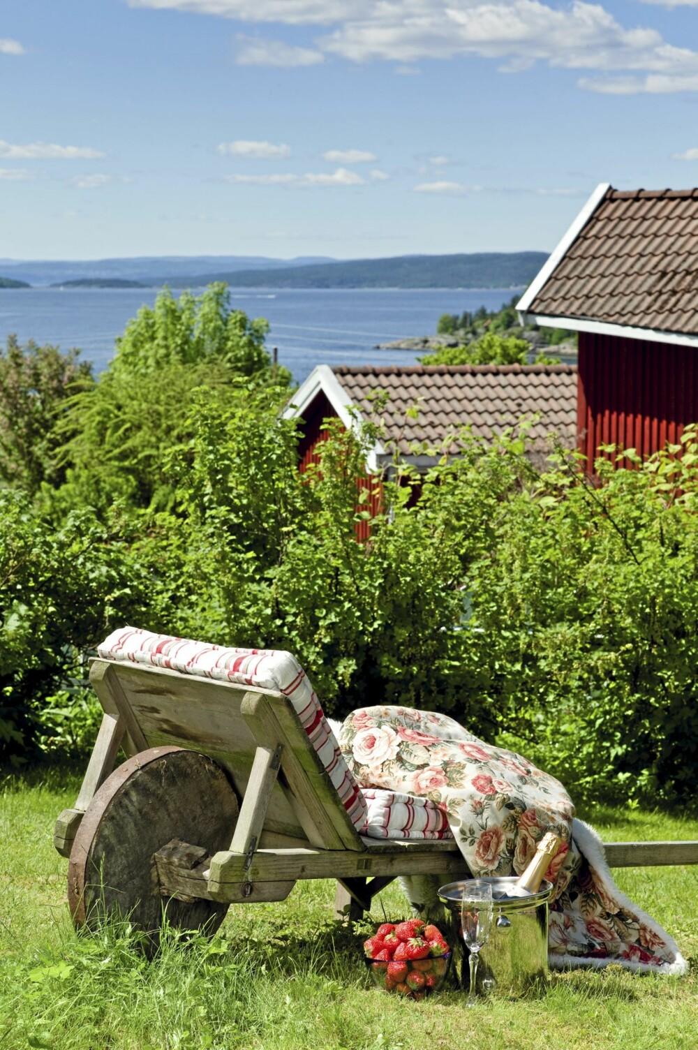 SOLBÅREN SJARM: Trillebåren fant interiørdesigneren under uthuset. Nå gjør den nytte som idyllisk hvileplass nederst i hagen.