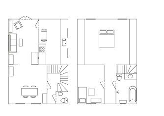 PLANTEGNING: Stuen og spisestuen ligger i åpen løsning i første etasjen. Der ligger også kjøkkenet, ved siden av stuen. I andre etasje ligger to soverom og badet.