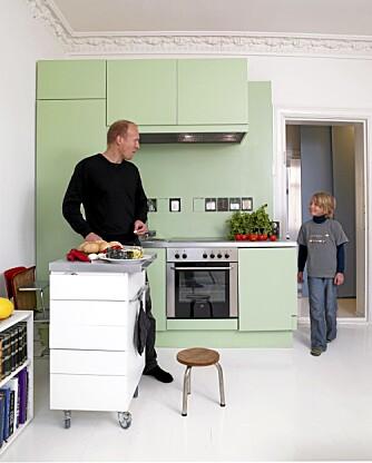 GRØNN KUBE:  Kjøleskap og oppvaskmaskin er innebygd og frontene er malt.