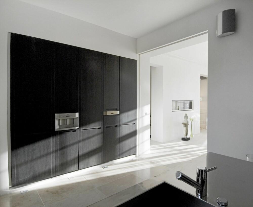 INTEGRERT: En kjøkkenvegg med integrerte hvitevarer representerer trenden der kjøkkenet skal gjøre minst mulig ut av seg.
