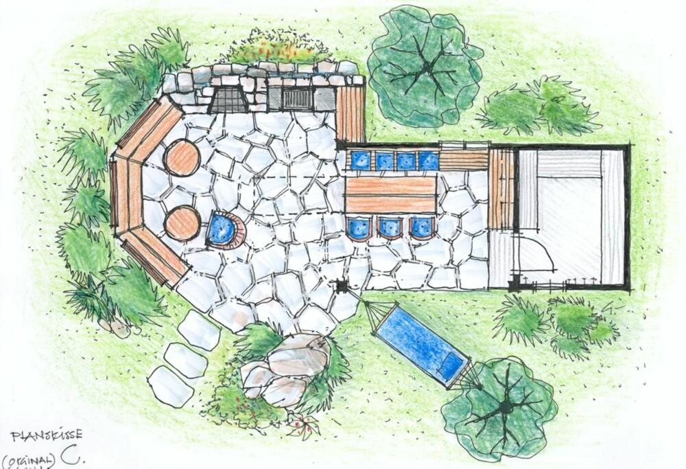 PRAKTISK: Koselig bål- og grillplass er tegnet inn, med tilhørende benker der det også er plass for matlaging og oppbevaring.