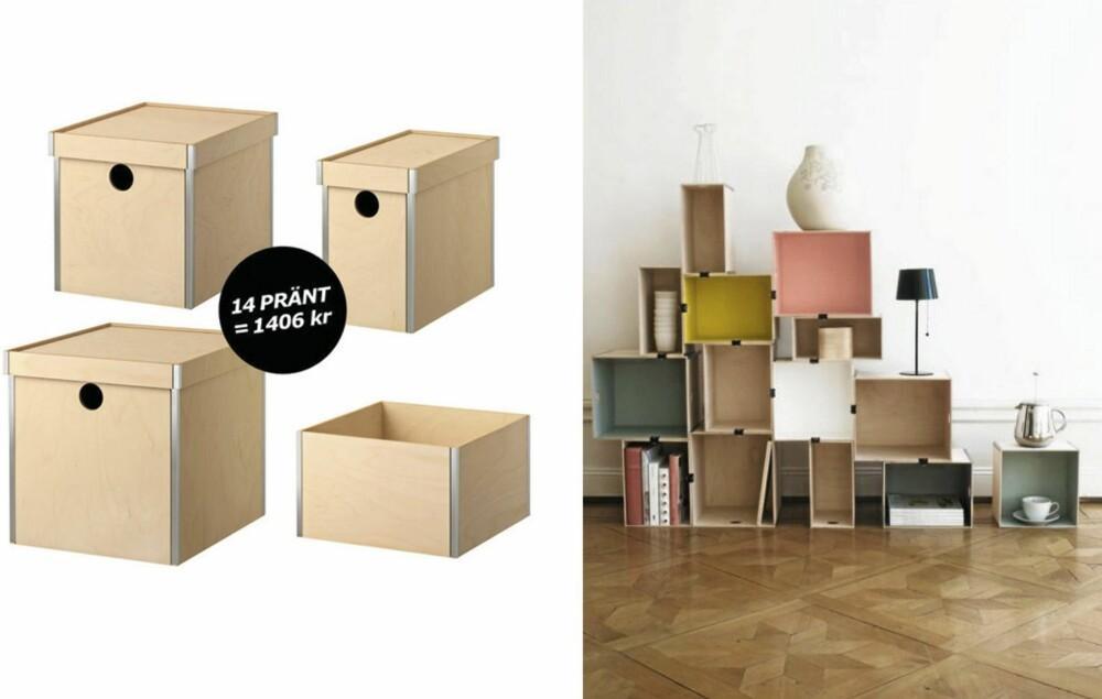 HERLIGE HYLLER: Enkle Ikea-kasser kan brukes til flere ting. Her blir de brukt som en dynamisk og dekorativ hylle på veggen.