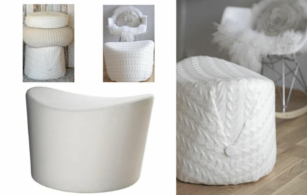 TRENDY STRIKK: Interiørblogger Katrine har trukket om den hvite puffen med et lekkert strikketeppe.