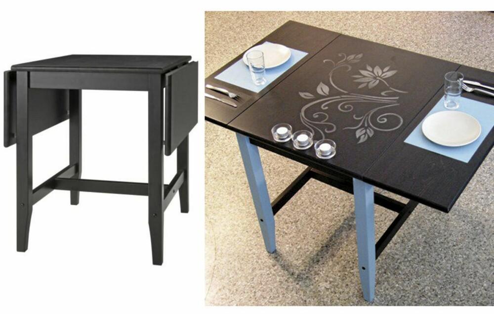 NYTT BORD: Et kjedelig klaffbord har fått en artig tvist med bruk av tavlemaling og sjablonger.