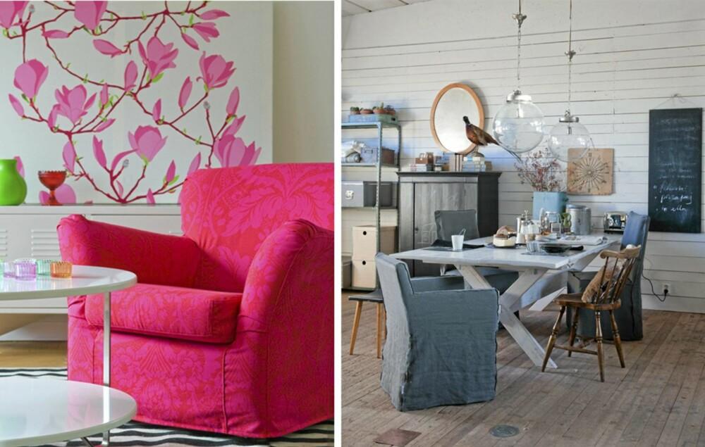 NYE TREKK: Om du har en gammel Ikea-sofa eller lenestol trenger den ikke å byttes ut. Hos Bemz kan du få den trukket om med nye lekre tekstiler. Vips, så er soafen din god som ny.