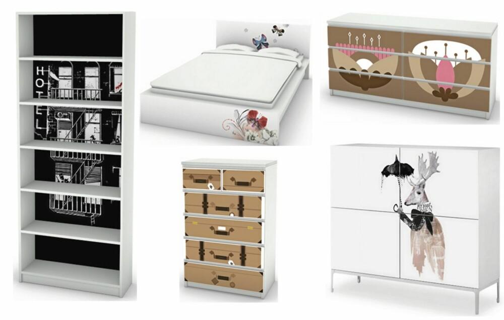 GRAFISK: Hos Mykea kan du dekorere Ikea-møblene dine med tøffe print og mønstre.