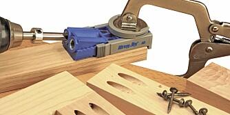 Lommehull: Med denne jigen kan du bore skrå hull slik at du kan sette sammen møbeldeler. kr 435/aurus.no