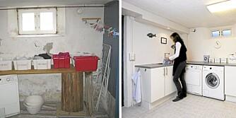 DEN STORE FORSKJELLEN: Fra et rått og kaldt interiør til et rent og hvitt rom med varme i gulvet.