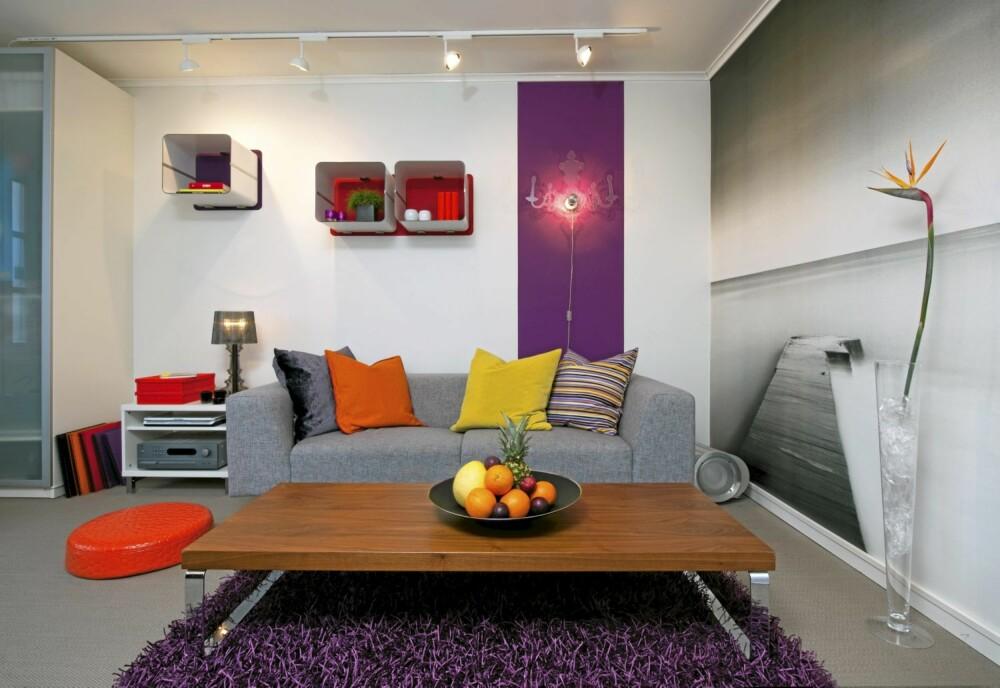 FARGEFEST I STUA: Stuemøblementet består av en sofa og et bord fra BoConcept. Et lilla felt på veggen bidrar til å fremheve vegglampen. Svart-hvitt-fotografiet som er tapetsert på den ene veggen drar blikket mot horisonten, og virker romforstørrende. Fototapet fra Mr Perswall.