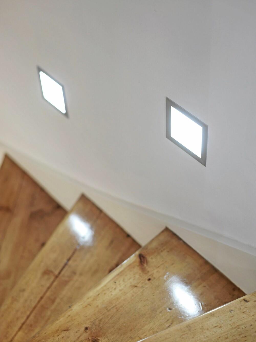 LAMPER I VEGGEN: Innfelte spotter tar ikke ekstra plass og gir godt lys. Prosjekt ved interiørarkitekt MNIL Trond Ramsøskar.