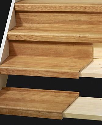 TRAPPEFORNYER: Den gamle trappen får et nytt uttrykk ved å lime på nye trinn.