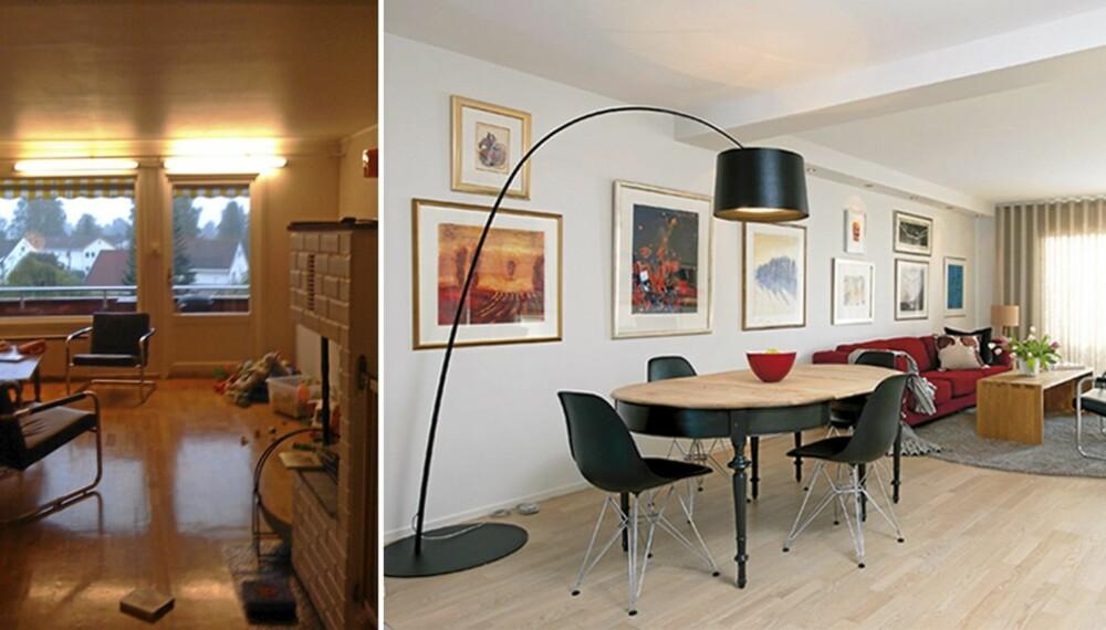 FORVANDLING. En gulnet, trist stue ble lys og innbydende. Kjøkken og stue ble slått sammen til et praktisk allrom.