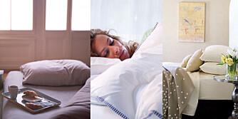BEROLIGENDE: Velg duse farger og myke tekstiler på soverommet. Slik senkes skuldrene og du får garantert en god natts søvn.