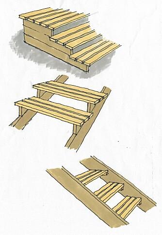 """TRE ULIKE TRAPPER: Her ser du terninger av """"trapp med oppsatt trinn"""", """"trapp med trinn oppå vangene"""" og """"trapp med trinnmelomm vangene""""."""