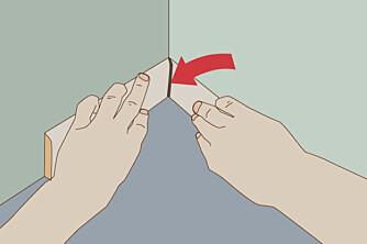 Legge lister: test vinkelen med to restebiter, da unngår du glis i skjøten og mange runder med kapping.