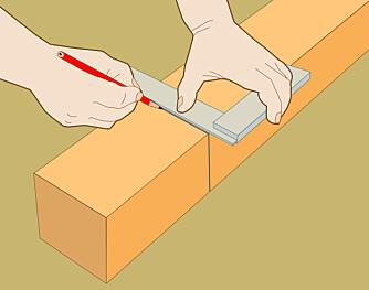 Vinkel: Bruk vinkelhake og lag strek på to sider.