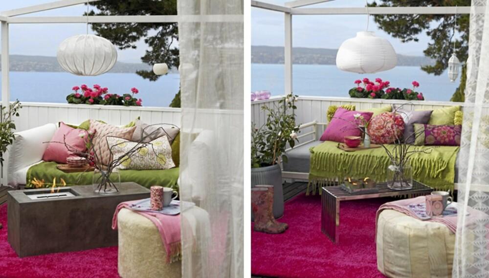 TERRASSELIV. Rosa og grønne innredningsdetaljer. Gjett hvilken terrasse som koster mest?