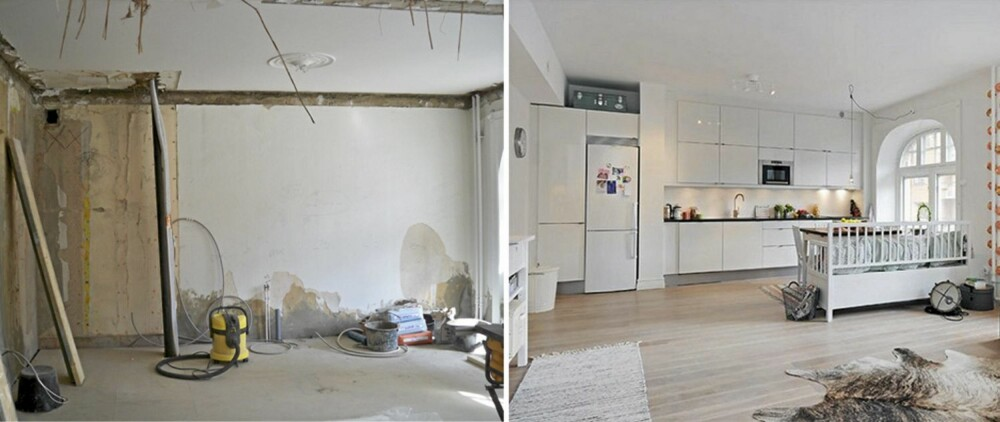 FØR OG ETTER: Etter mye hardt arbeid fremstår leiligheten nå lys og moderne.
