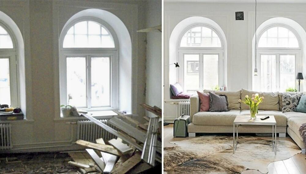 NY BOLIG: En totalrenovering endte i en ny og gjennomført leilighet for Elin petterson og samboeren.