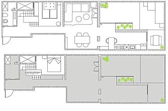 PLANTEGNING: Plantegning av de to planene i leiligheten