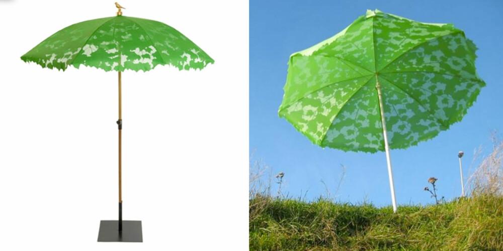 I DET GRØNNE: Parasollen fra Droog blir garantert å friske opp enhver uteplass.