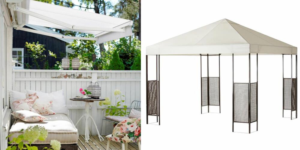 SVAL OG TØRR: Markis eller telt, det finnes mange måter å beskytte seg på i hagen.
